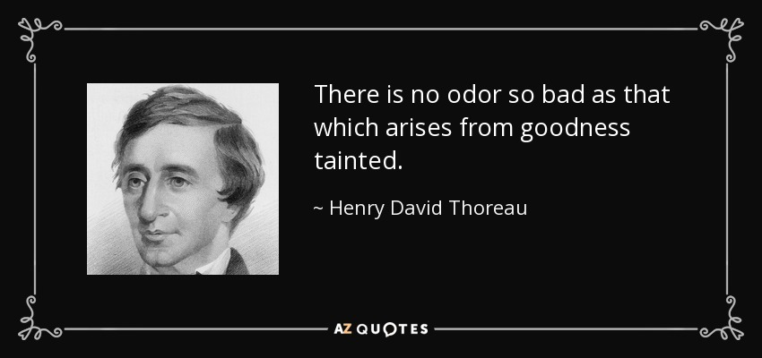 There is no odor so bad as that which arises from goodness tainted. - Henry David Thoreau