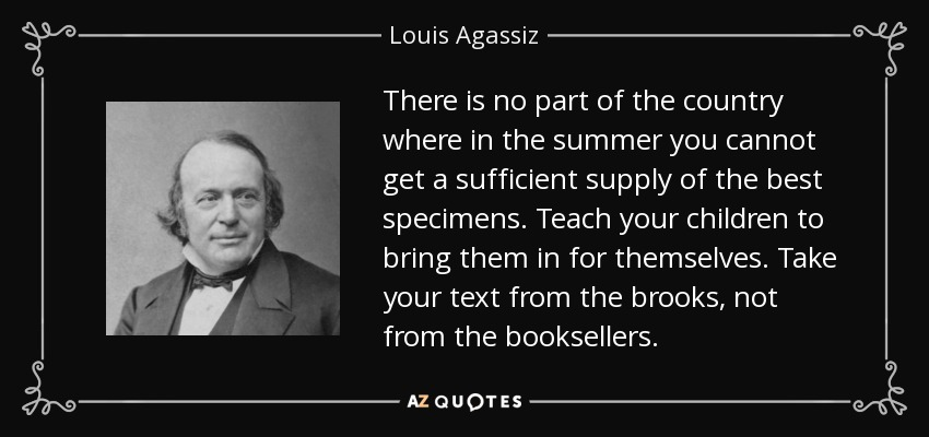 There is no part of the country where in the summer you cannot get a sufficient supply of the best specimens. Teach your children to bring them in for themselves. Take your text from the brooks, not from the booksellers. - Louis Agassiz