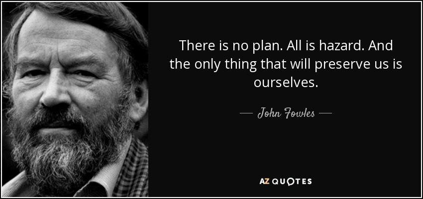 There is no plan. All is hazard. And the only thing that will preserve us is ourselves. - John Fowles