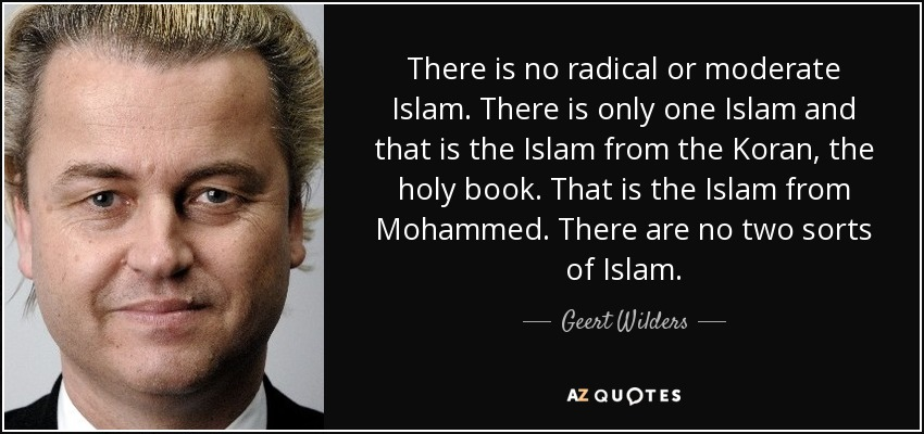 There is no radical or moderate Islam. There is only one Islam and that is the Islam from the Koran, the holy book. That is the Islam from Mohammed. There are no two sorts of Islam. - Geert Wilders