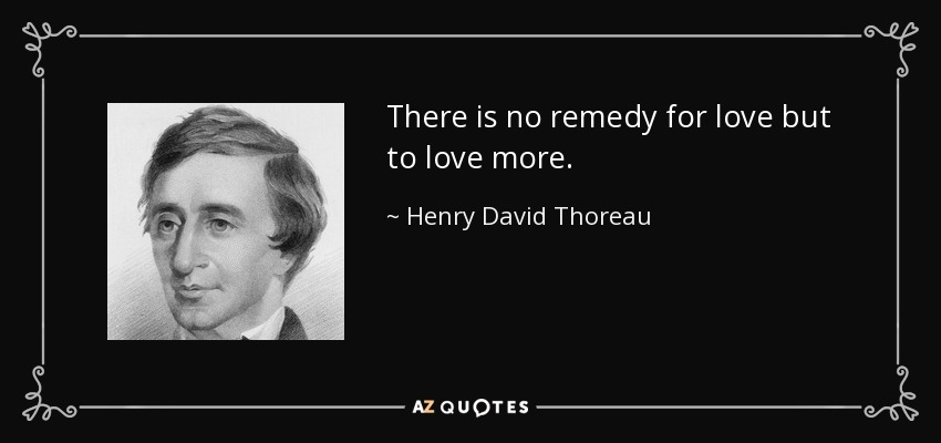 There is no remedy for love but to love more. - Henry David Thoreau