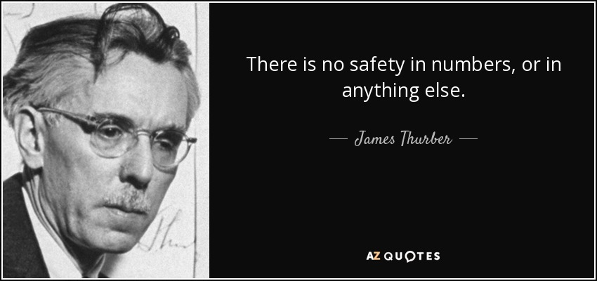 There is no safety in numbers, or in anything else. - James Thurber
