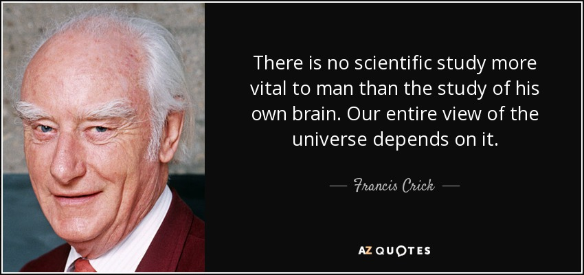 There is no scientific study more vital to man than the study of his own brain. Our entire view of the universe depends on it. - Francis Crick
