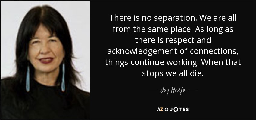 There is no separation. We are all from the same place. As long as there is respect and acknowledgement of connections, things continue working. When that stops we all die. - Joy Harjo