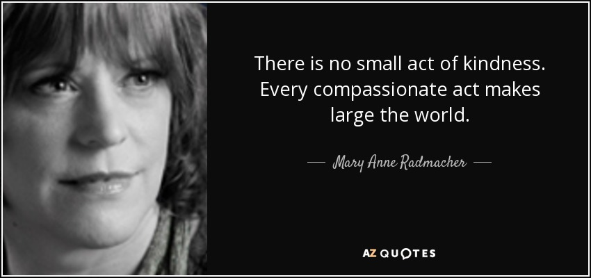 There is no small act of kindness. Every compassionate act makes large the world. - Mary Anne Radmacher