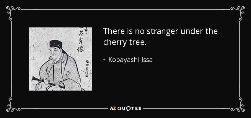 There is no stranger under the cherry tree. - Kobayashi Issa