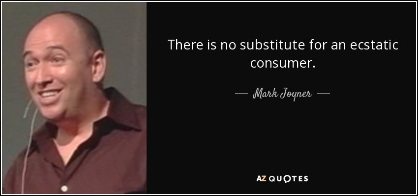 There is no substitute for an ecstatic consumer. - Mark Joyner