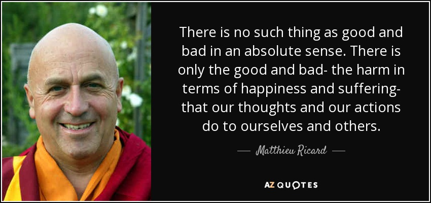 There is no such thing as good and bad in an absolute sense. There is only the good and bad- the harm in terms of happiness and suffering- that our thoughts and our actions do to ourselves and others. - Matthieu Ricard