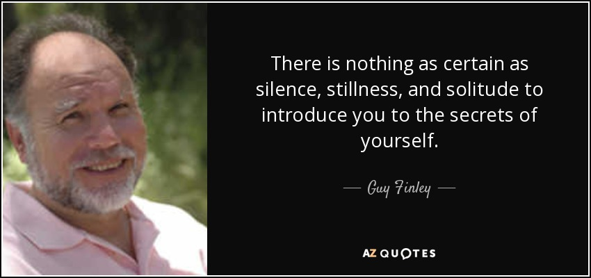 There is nothing as certain as silence, stillness, and solitude to introduce you to the secrets of yourself. - Guy Finley