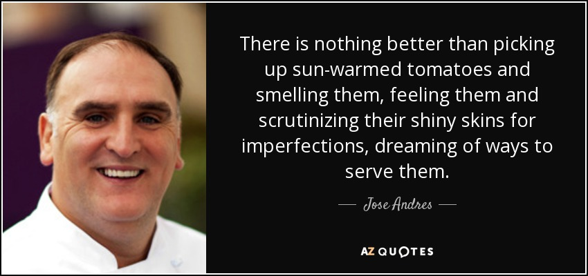 There is nothing better than picking up sun-warmed tomatoes and smelling them, feeling them and scrutinizing their shiny skins for imperfections, dreaming of ways to serve them. - Jose Andres