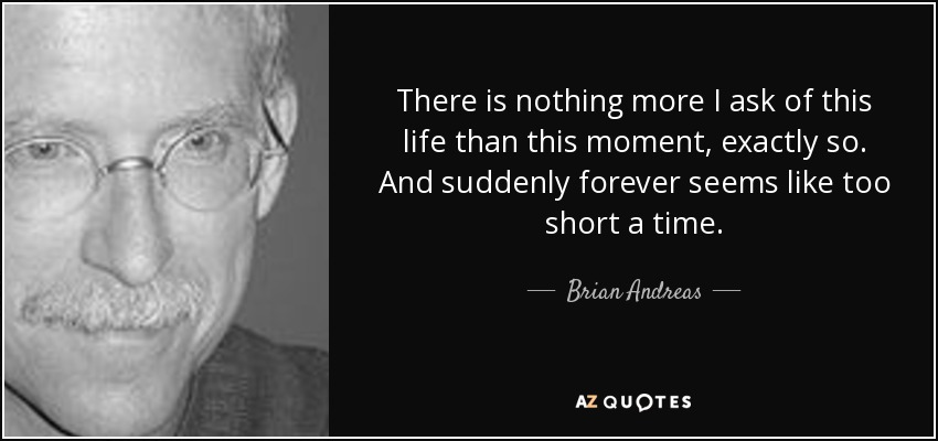 There is nothing more I ask of this life than this moment, exactly so. And suddenly forever seems like too short a time. - Brian Andreas