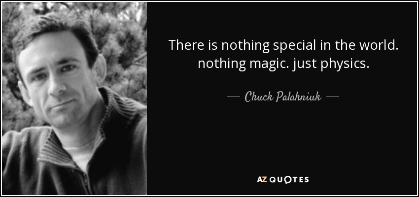 There is nothing special in the world. nothing magic. just physics. - Chuck Palahniuk
