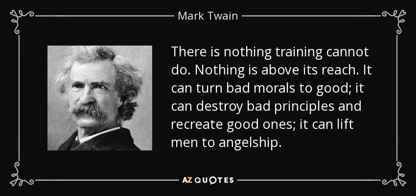 There is nothing training cannot do. Nothing is above its reach. It can turn bad morals to good; it can destroy bad principles and recreate good ones; it can lift men to angelship. - Mark Twain