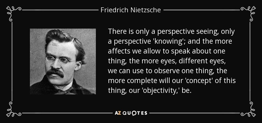 There is only a perspective seeing, only a perspective 'knowing'; and the more affects we allow to speak about one thing, the more eyes, different eyes, we can use to observe one thing, the more complete will our 'concept' of this thing, our 'objectivity,' be. - Friedrich Nietzsche
