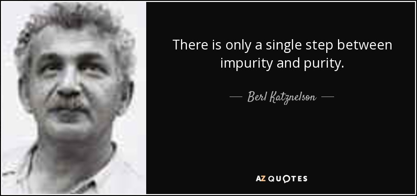 There is only a single step between impurity and purity. - Berl Katznelson