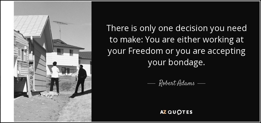 There is only one decision you need to make: You are either working at your Freedom or you are accepting your bondage. - Robert Adams