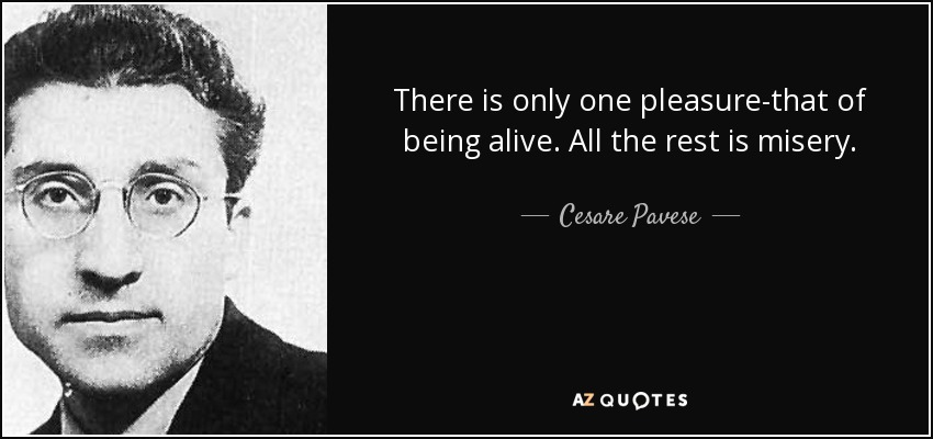 There is only one pleasure-that of being alive. All the rest is misery. - Cesare Pavese