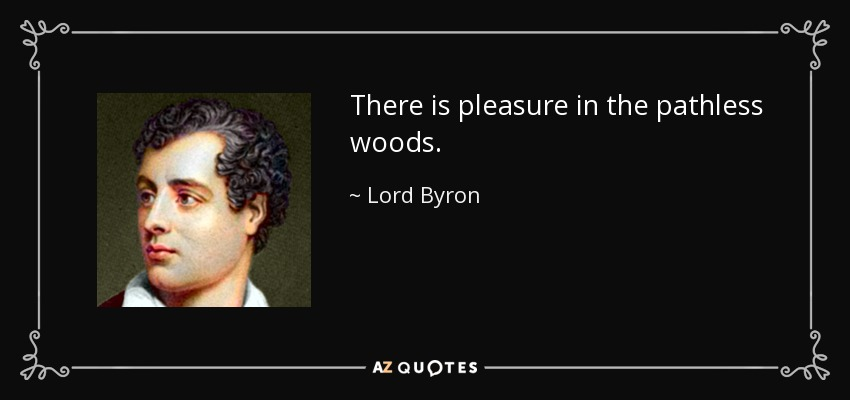 There is pleasure in the pathless woods. - Lord Byron