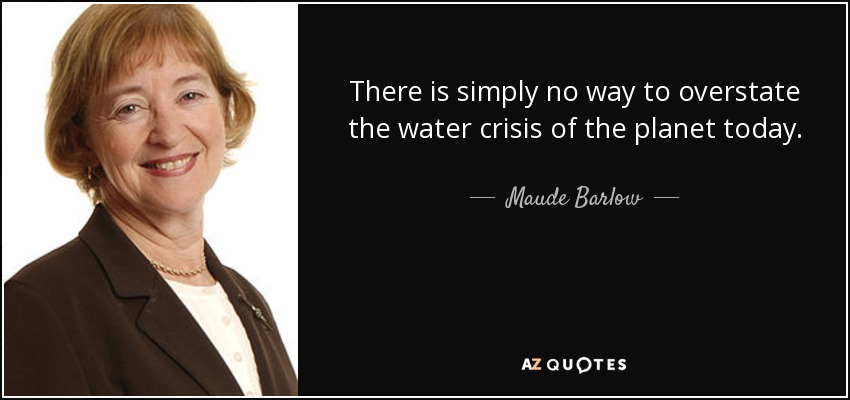 There is simply no way to overstate the water crisis of the planet today. - Maude Barlow