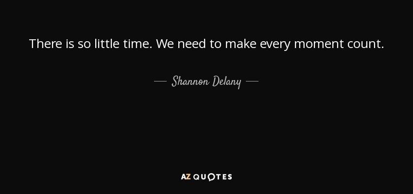 Every Moment Counts Quotes: Shannon Delany Quote: There Is So Little Time. We Need To