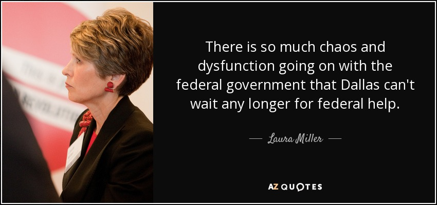 There is so much chaos and dysfunction going on with the federal government that Dallas can't wait any longer for federal help. - Laura Miller