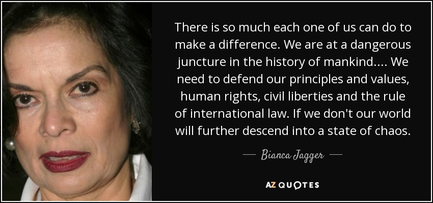 There is so much each one of us can do to make a difference. We are at a dangerous juncture in the history of mankind. ... We need to defend our principles and values, human rights, civil liberties and the rule of international law. If we don't our world will further descend into a state of chaos. - Bianca Jagger