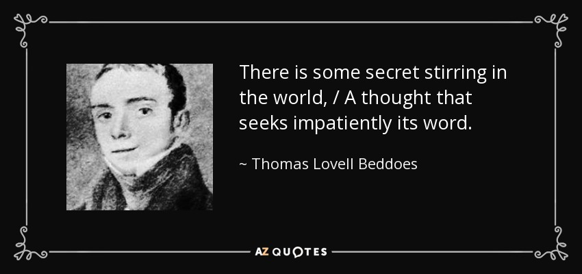 Thomas Lovell Beddoes beddoes poem