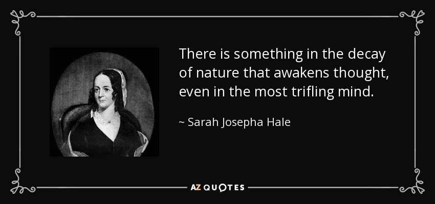 There is something in the decay of nature that awakens thought, even in the most trifling mind. - Sarah Josepha Hale