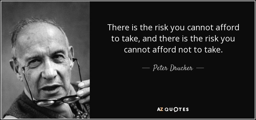 There is the risk you cannot afford to take, and there is the risk you cannot afford not to take. - Peter Drucker