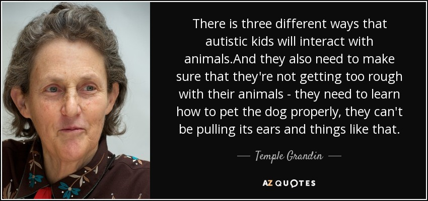 There is three different ways that autistic kids will interact with animals.And they also need to make sure that they're not getting too rough with their animals - they need to learn how to pet the dog properly, they can't be pulling its ears and things like that. - Temple Grandin