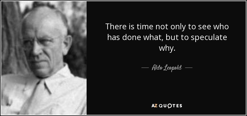 There is time not only to see who has done what, but to speculate why. - Aldo Leopold