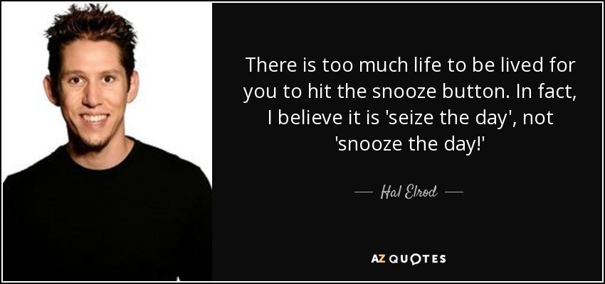 There is too much life to be lived for you to hit the snooze button. In fact, I believe it is 'seize the day', not 'snooze the day!' - Hal Elrod