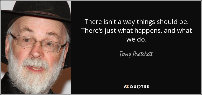 There isn't a way things should be. There's just what happens, and what we do. - Terry Pratchett
