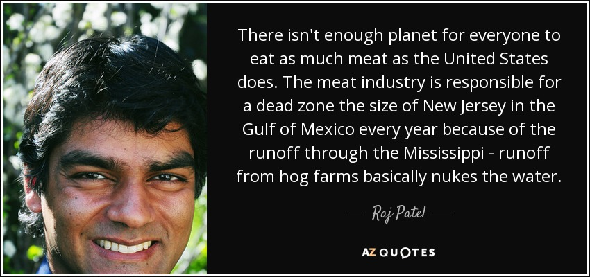 There isn't enough planet for everyone to eat as much meat as the United States does. The meat industry is responsible for a dead zone the size of New Jersey in the Gulf of Mexico every year because of the runoff through the Mississippi - runoff from hog farms basically nukes the water. - Raj Patel