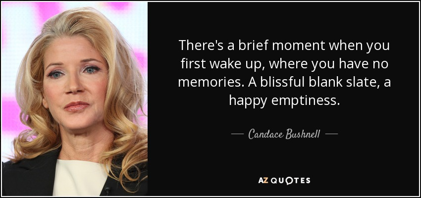 There's a brief moment when you first wake up, where you have no memories. A blissful blank slate, a happy emptiness. - Candace Bushnell