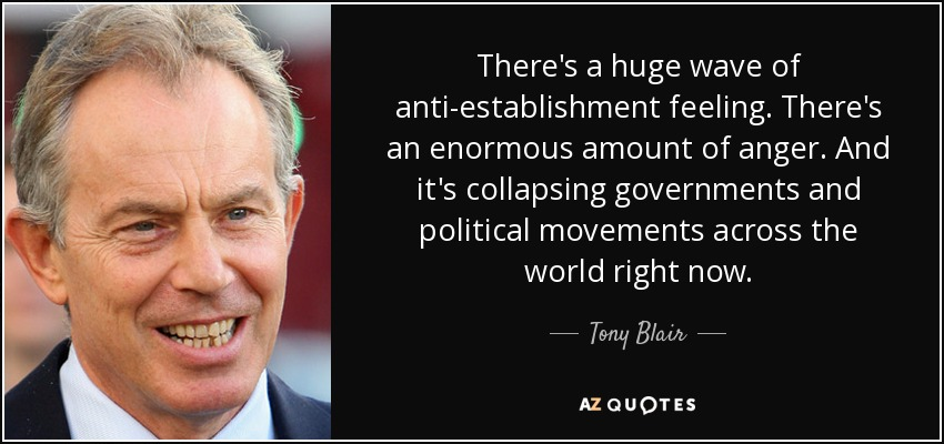 There's a huge wave of anti-establishment feeling. There's an enormous amount of anger. And it's collapsing governments and political movements across the world right now. - Tony Blair