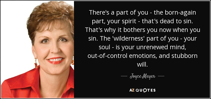 There's a part of you - the born-again part, your spirit - that's dead to sin. That's why it bothers you now when you sin. The 'wilderness' part of you - your soul - is your unrenewed mind, out-of-control emotions, and stubborn will. - Joyce Meyer