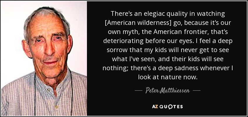 There's an elegiac quality in watching [American wilderness] go, because it's our own myth, the American frontier, that's deteriorating before our eyes. I feel a deep sorrow that my kids will never get to see what I've seen, and their kids will see nothing; there's a deep sadness whenever I look at nature now. - Peter Matthiessen