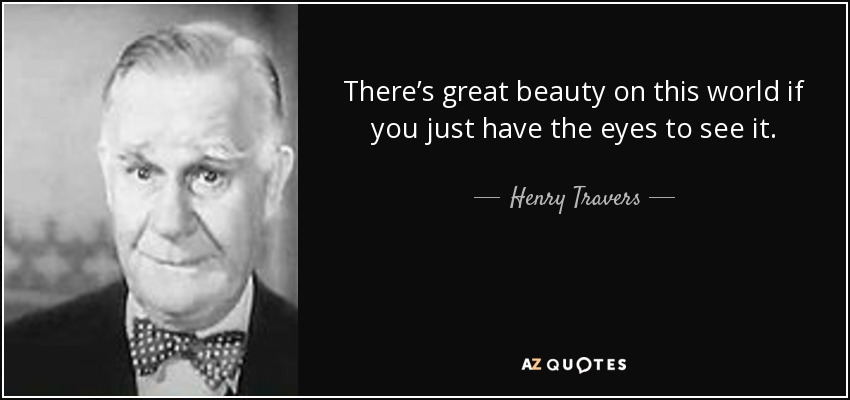 There's great beauty on this world if you just have the eyes to see it. - Henry Travers