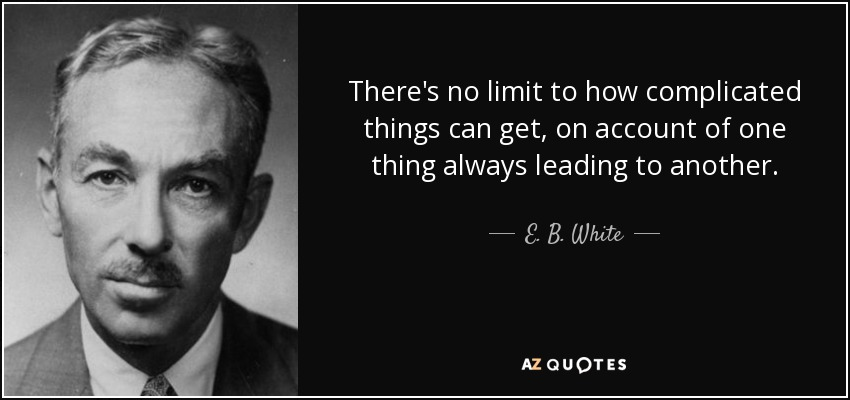 There's no limit to how complicated things can get, on account of one thing always leading to another. - E. B. White