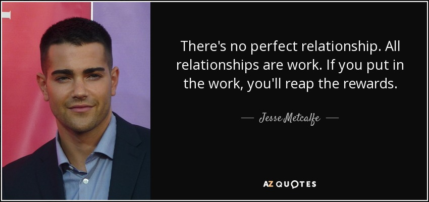 There's no perfect relationship. All relationships are work. If you put in the work, you'll reap the rewards. - Jesse Metcalfe