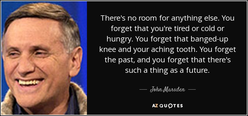There's no room for anything else. You forget that you're tired or cold or hungry. You forget that banged-up knee and your aching tooth. You forget the past, and you forget that there's such a thing as a future. - John Marsden