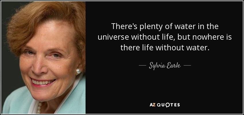 There's plenty of water in the universe without life, but nowhere is there life without water. - Sylvia Earle
