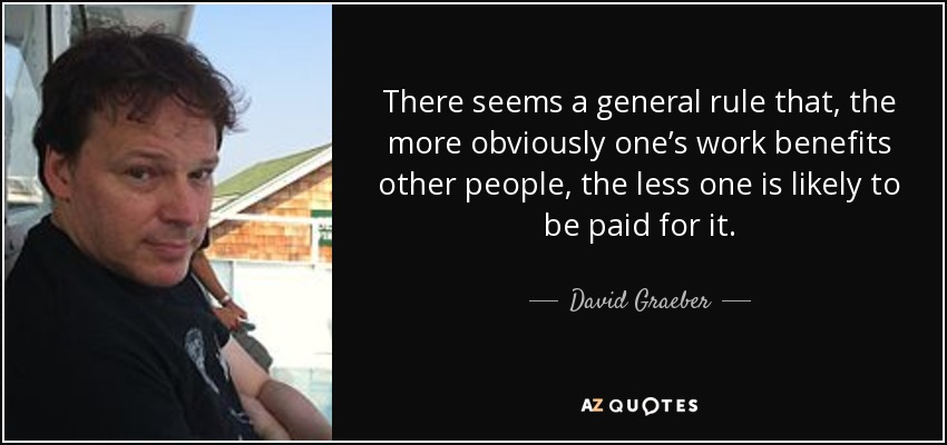 There seems a general rule that, the more obviously one's work benefits other people, the less one is likely to be paid for it. - David Graeber
