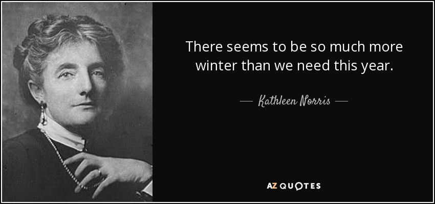 There seems to be so much more winter than we need this year. - Kathleen Norris