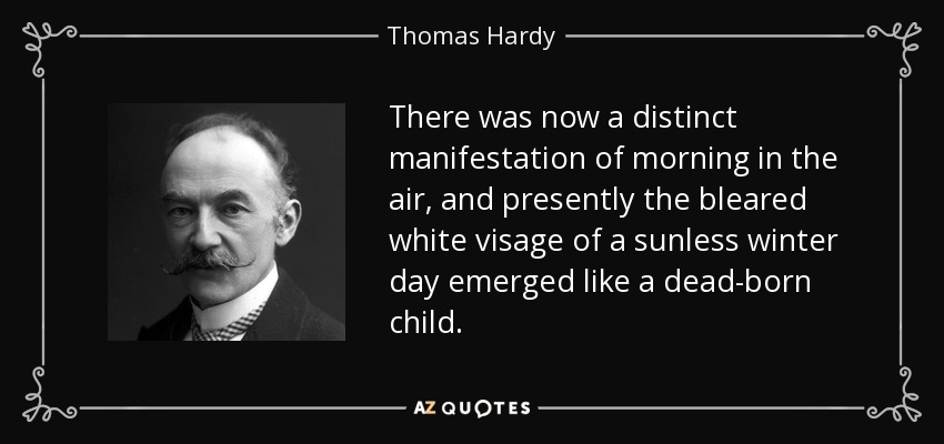 There was now a distinct manifestation of morning in the air, and presently the bleared white visage of a sunless winter day emerged like a dead-born child. - Thomas Hardy
