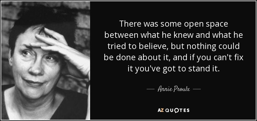 There was some open space between what he knew and what he tried to believe, but nothing could be done about it, and if you can't fix it you've got to stand it. - Annie Proulx