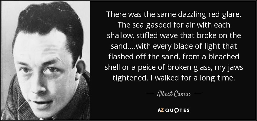 There was the same dazzling red glare. The sea gasped for air with each shallow, stifled wave that broke on the sand. ...with every blade of light that flashed off the sand, from a bleached shell or a peice of broken glass, my jaws tightened. I walked for a long time. - Albert Camus