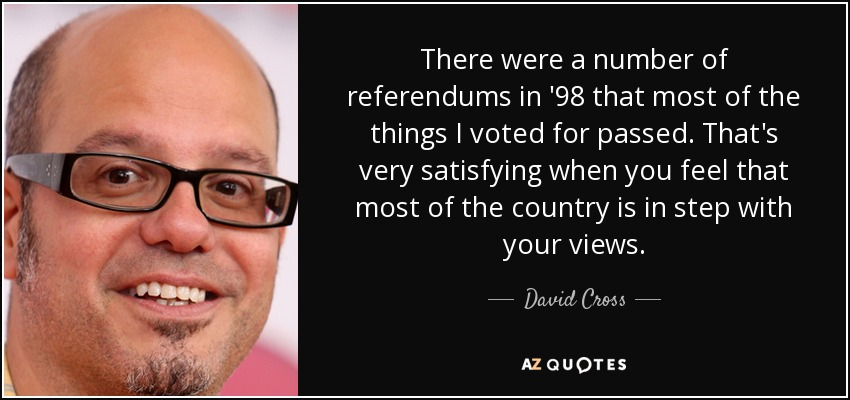 There were a number of referendums in '98 that most of the things I voted for passed. That's very satisfying when you feel that most of the country is in step with your views. - David Cross