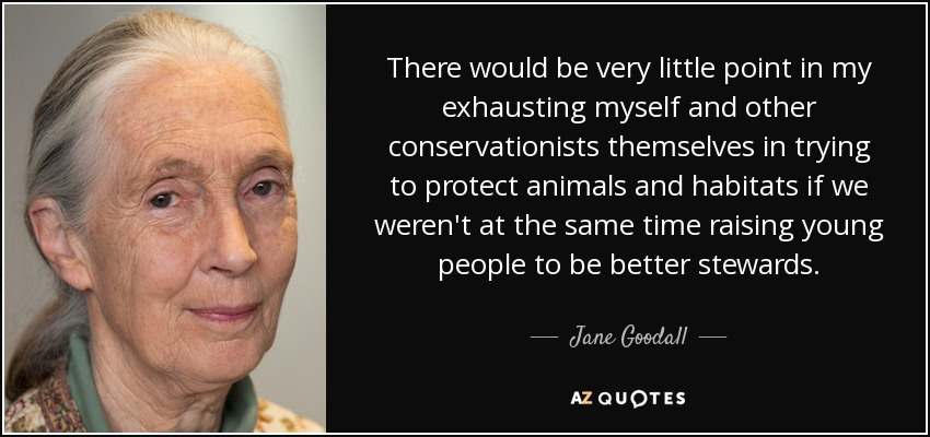 There would be very little point in my exhausting myself and other conservationists themselves in trying to protect animals and habitats if we weren't at the same time raising young people to be better stewards. - Jane Goodall